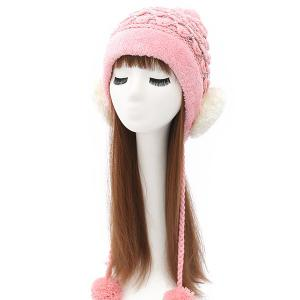 Plush Edge Ball Smile Face Tiered Rhinestone Beanie - Shallow Pink