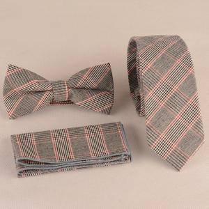 Plaid Print Tie Pocket Square and Bow Tie - Watermelon Red