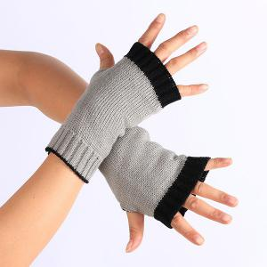 Double Color Knitted Fingerless Gloves - Light Gray