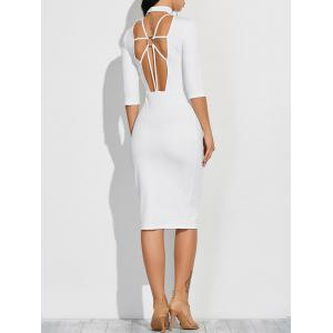 Cutout Fitted Midi Dress with Sleeves - White - Xl