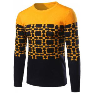 Geometric Pattern Contrast Color Crew Neck Sweater