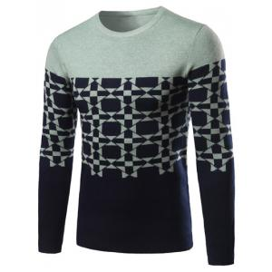 Geometric Pattern Contrast Color Crew Neck Sweater - Light Green - Xl