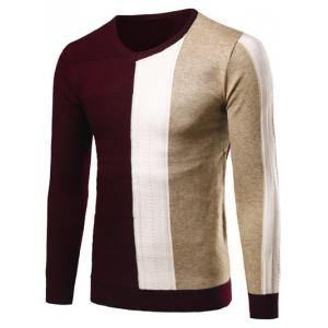 V-Neck Rib Cuff Color Matching Pullover Sweater