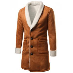 Shawl Collar Patch Pocket Plush Lining Longline Coat