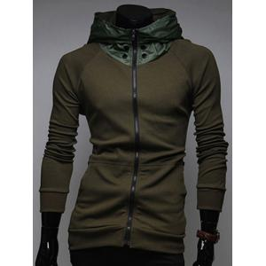 Zip Up Kangaroo Pocket Raglan Sleeve Hoodie