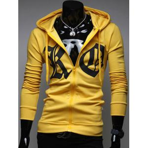 Pocket Front Zip Up Drawstring Graphic Hoodie
