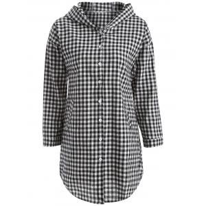 Hooded Button-Down Plaid Blouse - Checked - Xl