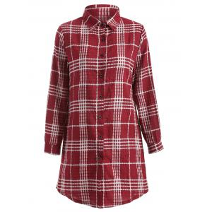 Button-Down Plaid Shirt - Red - M