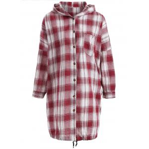 Hooded Drawstring Buttoned Plaid Blouse
