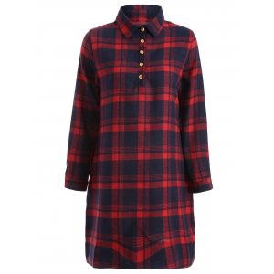 Long Sleeve Plaid Shift Casual Shirt Dress