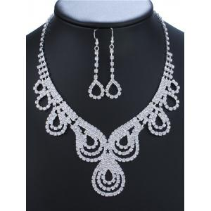 Rhinestone Water Drop Necklace and Earrings - Silver - Size S
