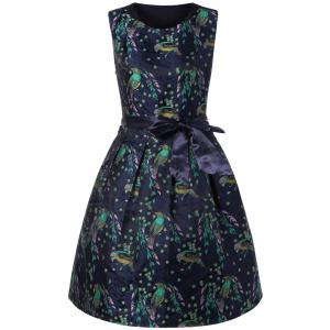 Birds Print Tie Belt Dress - Sapphire Blue - M