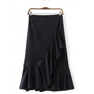 High Waist Flounced Fishtail Design Skirt