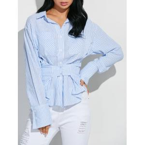 Hook and Eye Wrap Striped Shirt