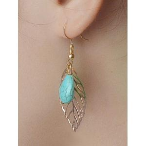 Leaves Hollow Out Turquoise Drop Earrings