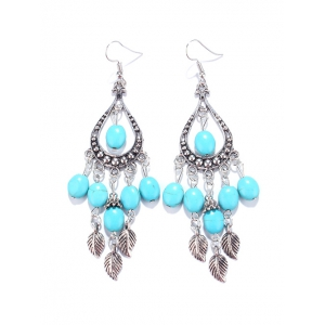Zircon Faux Turquoise Chandelier Drop Earrings