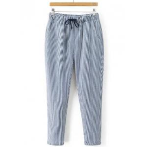 Striped Drawstring Waist Loose Harem Pants