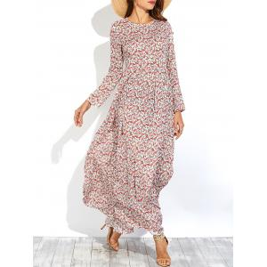 Long Sleeve Tiny Floral Print Maxi Dress - Red - S