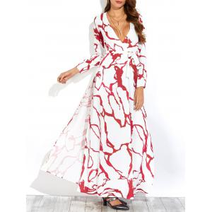 Plunge Maxi Long Sleeve Print Swing Dress