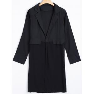 Chiffon Panel Long Blazer