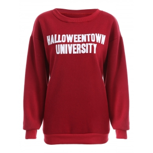 Pullover Letter Print Thicken Sweatshirt - Deep Red - L