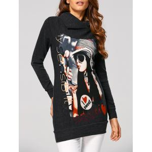 Figure High Neck Long Sweatshirt - Deep Gray - S