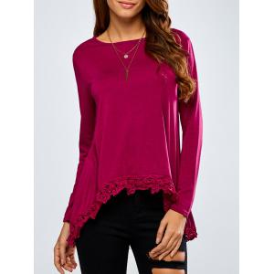 High-Low Lace Spliced Loose T-Shirt