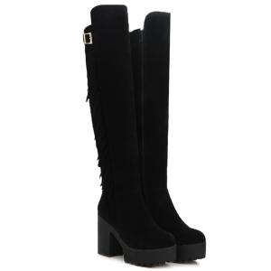 Chunky Heel Buckle Fringe Knee-High Boots