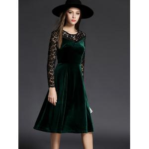 Long Sleeve Lace Spliced Knee Length Flare Dress
