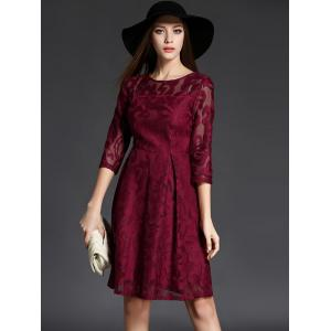 3/4 Sleeve Crochet Flare Dress