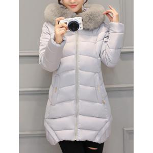 Asymmetrical Hooded Padded Coat - Gray - Xl