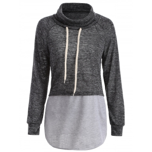 Color Block High Neck String Sweatshirt - Gray - M