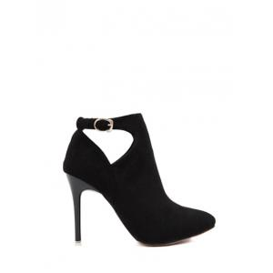 Suede Stiletto Heel Cut Out Ankle Boots