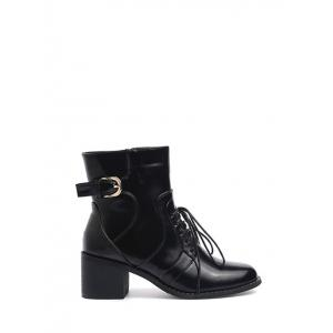 Tie Up Buckle Chunky Heel Short Boots - Black - 38