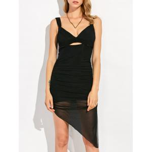 Asymmetric Mesh Pencil Club Dress