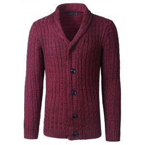 Shawl Collar Button Up Twist Striped Texture Cardigan