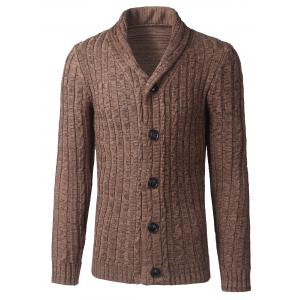 Shawl Collar Button Up Twist Striped Texture Cardigan - Khaki - M