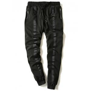 Drawstring Zip Stripe Embellished Beam Feet Jogger Pants