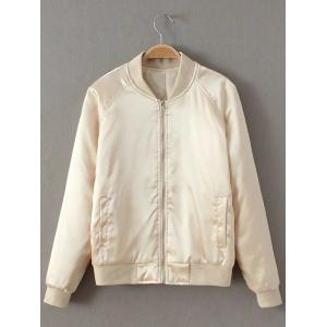 Preppy Stain Bomber Jacket - Champagne - M