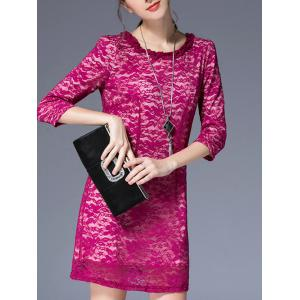 3/4 Sleeve Round Pleated Collar Lace Dress - Rose Madder - L