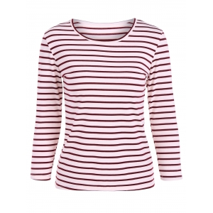Scoop Neck Striped Back Patchwork T-Shirt