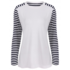 Round Neck Striped Patchwork T-Shirt - White And Black - L