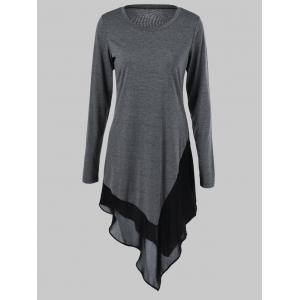 Plus Size Chiffon Trim Asymmetrical Long Sleeve Dress - Gray - Xl