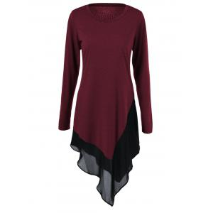 Plus Size Chiffon Trim Asymmetrical Long Sleeve Dress - Wine Red - 5xl