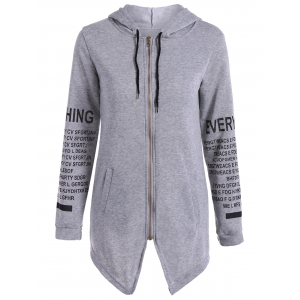 Zip Up Graphic Asymmetrical Hoodie - Gray - S