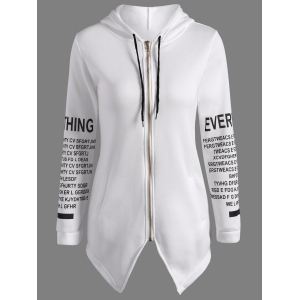 Zip Up Graphic Asymmetrical Hoodie - White - S