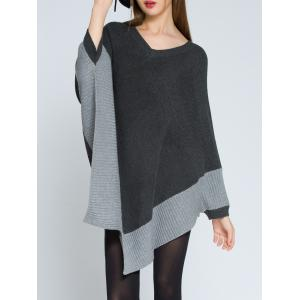 Pointed Hem V Neck Knit Poncho - Deep Gray - One Size
