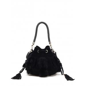 Faux Fur Braid Tassel Bucket Bag - Black