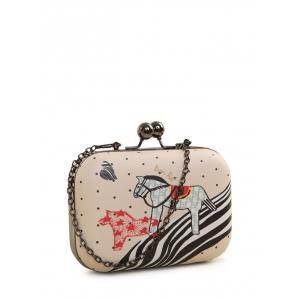 Kiss Lock Cartoon Horse Print Evening Bag
