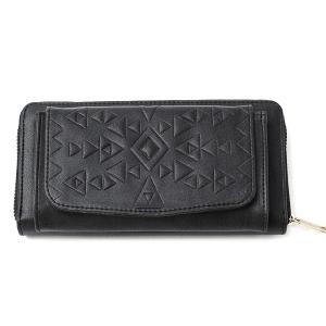 Geometric Embossed PU Leather Zip Around Wallet